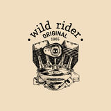 Wild Rider vector vintage motorcycle logo. Biker club sign. Garage label. Vector illustration of hand drawn motor. Stock Image