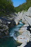 Wild river in the Alps (Soca / Isonzo) Stock Photography
