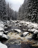 Wild river with big stones in winter Royalty Free Stock Image