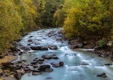 Wild river Etsch. Near Laas, South Tyrol Royalty Free Stock Photo