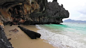 Wild rock beach loop. Wild sandy beach with rocks and old tree loop stock video