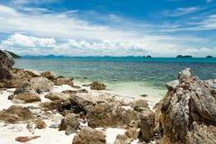 Wild, rocky beach Stock Images