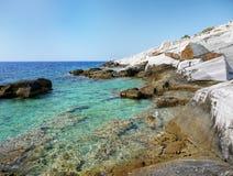 Wild Rocky Coast Greek Island. Wild rocky coast with white marble rocks on Greek island - Thassos stock images