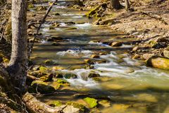 Rocky View of a Wild Mountain Trout Stream. A wild rocky trout stream located in the woods of the Jefferson National Forest, Virginia, USA Stock Images