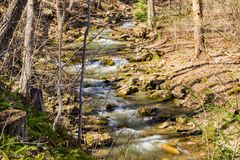 Rocky View of a Wild Mountain Trout Stream - 2. A wild rocky trout stream located in the woods of the Jefferson National Forest, Virginia, USA Royalty Free Stock Photography