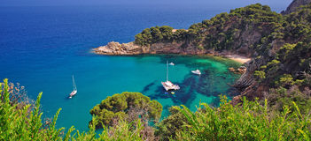 Wild romantic coast of costa brava Royalty Free Stock Photography
