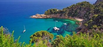 Wild romantic coast of costa brava royalty free stock photography