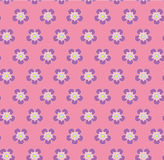 Wild rose flowers polka dot on pink background seamless vector pattern Stock Photography