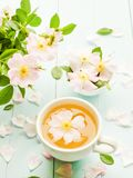 Wild rose tea. Wild dog rose tea and flowers on wooden background. Shallow dof royalty free stock photos