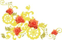 Wild roses. Background with baroque elements Royalty Free Stock Photo