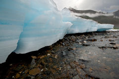 Wild Russia landscape. Ice glacier blocks,river. stock images