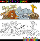 Wild Safari Animals for Coloring. Coloring Book or Page Cartoon Illustration of Funny Wild and Safari Animals for Children Education Royalty Free Stock Photo