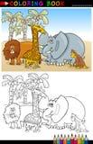 Wild Safaridjur för färgläggning royaltyfri illustrationer