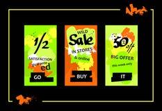 Wild Sale Web Banners Set Royalty Free Stock Photo