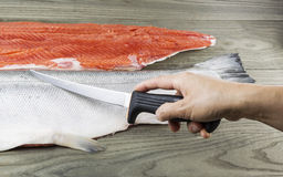 Wild Salmon being Fillet Royalty Free Stock Image