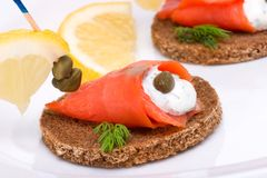 Wild salmon canapes Stock Photography
