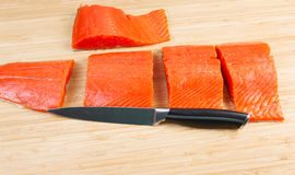 Wild Salmon Cut in Pieces for Cooking Royalty Free Stock Photo