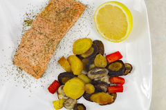 Wild Salmon with Mixed Vegetables Royalty Free Stock Image