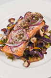 Wild salmon with organic red cabbage.brussels sprouts and hazelnuts Royalty Free Stock Photography