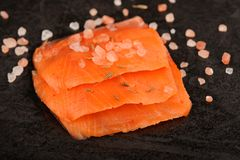 Wild salmon salted with coarse pink himalayan salt on black back Stock Photography