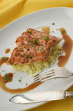 Wild salmon steak with rice Stock Photos