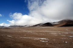 Wild scene of highland moutain pamirs tibet. Wide, broadly, snow, cold, altiplano,clouds skies Stock Photography
