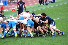 Wild scrum. A wild scrum in the rbs 6 nations rugby match italy vs france. 11/3/2017 Royalty Free Stock Photography