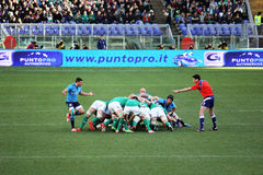 Wild scrum. A scrum during the rbs six rugby match italy vs ireland played at rome.7/2/2015 Stock Images