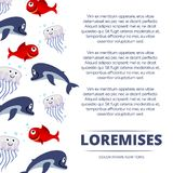 Wild sea animals poster design - background with cute dolphin, fishes and jellyfish Stock Photos