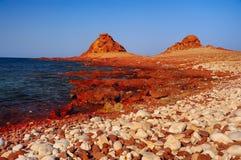 Wild sea coast. Beach strewn with stones and red korralovymi reefs, red hills on the horizon. Yemen. Socotra royalty free stock images