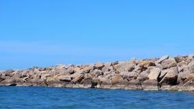 Nature background seascape wild seashore with stones, blue sky water sunny day. Wild seashore with stones, blue sky and water at sunny day. Nature background stock video