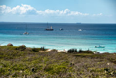 Wild seaside landscape of Aruba in the Caribbean Royalty Free Stock Images