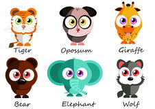 Wild. Set cute animals for use as stickers, pictures in games Stock Photography