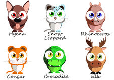 Wild. Set funny animals for use as stickers, pictures in books, Stock Image
