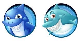 Wild sharks on round badges royalty free illustration