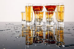 Wild shooters. Shooters with whiskey, tequila and rum Stock Photo