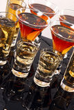 Wild shooters. Shooters with whiskey, tequila and rum Stock Image
