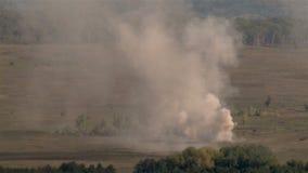 Wild shot of huge explosion on battlefield stock video