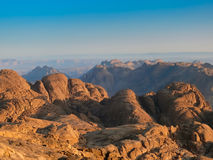 Wild Sinai mountains. On the top of Mount of Moses Stock Photography