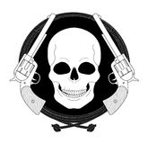 Wild skull west emblem. Linear Royalty Free Stock Photography