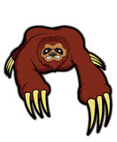 Wild sloth with big claws cartoon Stock Photography