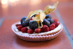 Wild stawberries on a little tarte Stock Images