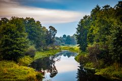 Wild stil Bos de herfstlandschap van de rivierbezinning Het waterpanorama van de de herfst bosrivier Bosrivierbezinning in de her stock afbeelding