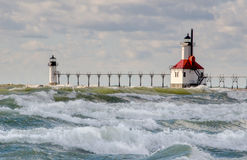 Wild and stormy day at st Joseph Lighthouse royalty free stock photo