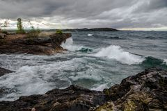 Wild And Stormy Lake Superior Coast Stock Photo