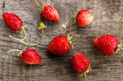 Wild strawberries. On wooden background Stock Images