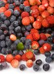Wild strawberries and blueberries Stock Images