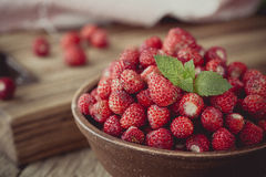 Wild strawberries in ceramic bowl in retro style Stock Images
