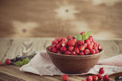 Wild strawberries in ceramic bowl in retro style Royalty Free Stock Photography
