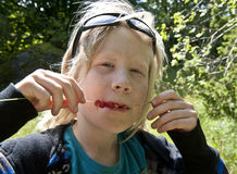 Wild strawberries on a straw. Young boy eating wild strawberries from a straw Royalty Free Stock Photography
